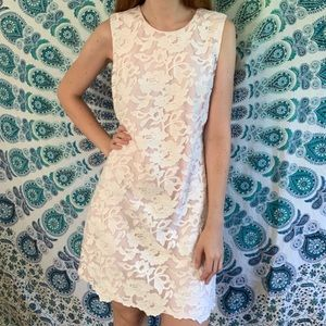 Karl Lagerfeld Pink & White Floral Lace Dress